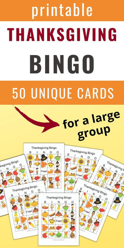 Thanksgiving Bingo Cards for a group - 50 Thanksgiving bingo cards