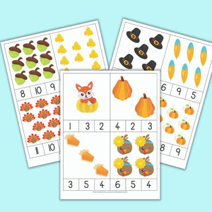 Thanksgiving Counting Clip Cards for Preschool