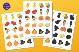 Thanksgiving Matching & Memory Game for Toddlers & Preschoolers