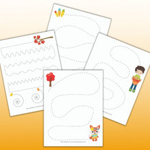Load image into Gallery viewer, Thanksgiving Pre-Writing Practice & Tracing Worksheets for Preschoolers