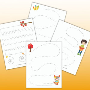 Thanksgiving Pre-Writing Practice & Tracing Worksheets for Preschoolers
