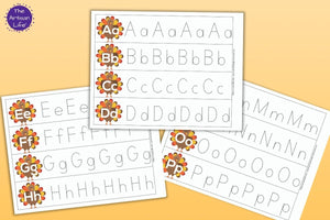 Turkey Alphabet Tracing Strips - Thanksgiving Letter Tracing Pages with  Uppercase and Lowercase Letters