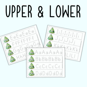 Christmas Alphabet Tracing Strips - Uppercase and Lowercase Letter Tracing