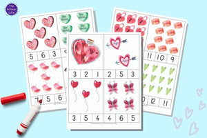 Valentine's Day Count & Clip Cards