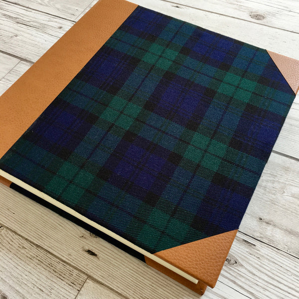 Personalised Guest Book, Blank - Black Watch Tartan & Leather
