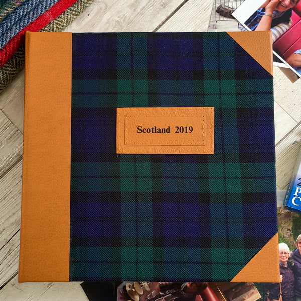 Bespoke Personalised Tartan and Leather Photo Album, Large