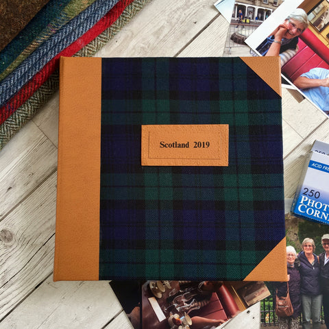 "Personalised ""Black Watch"" Tartan and Leather Album, Extra Large"