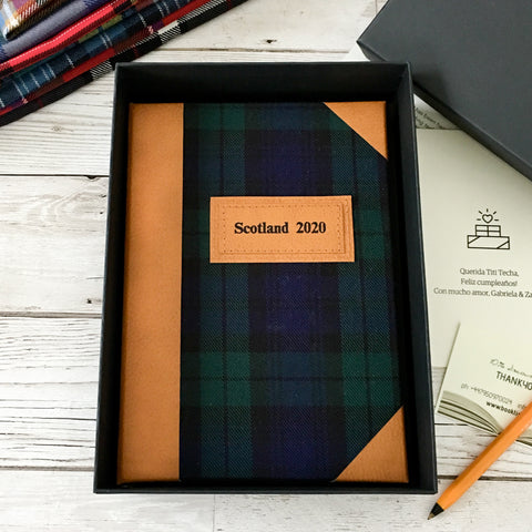 Personalised Notebook, A5, Bullet, Gift-Boxed - Black Watch Tartan & Leather