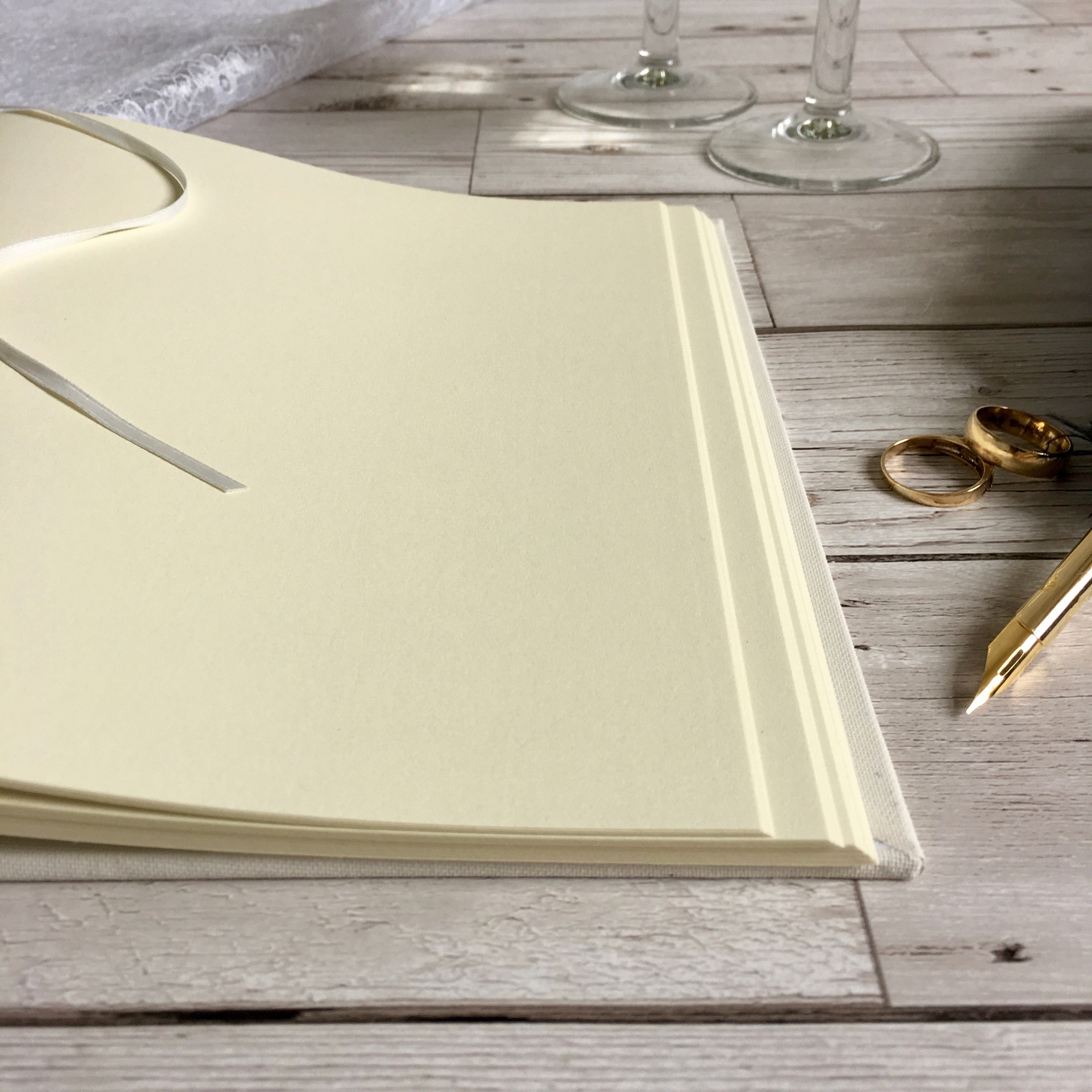 Ribbon-Bound Linen Guest Book, 30cm Square