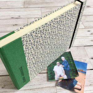 Personalised Blue Leaves and Green Cloth Photo Journal, A5