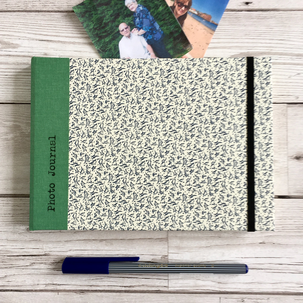Personalised Blue Leaves and Green Cloth Photo Journal, A4
