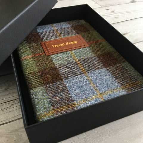 Personalised Harris Tweed Notebook, A5, Blank Gift-Box - Macleod
