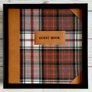 Personalised Guest Book, Printed, Harris Tweed & Leather - Macleod