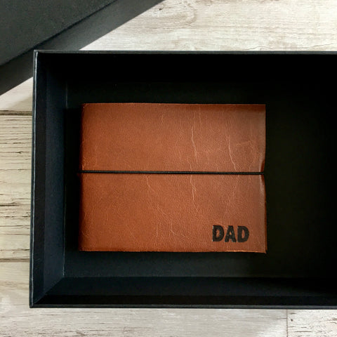 Personalised Leather Notebook, Blank, Gift-Boxed - Wallet-Style