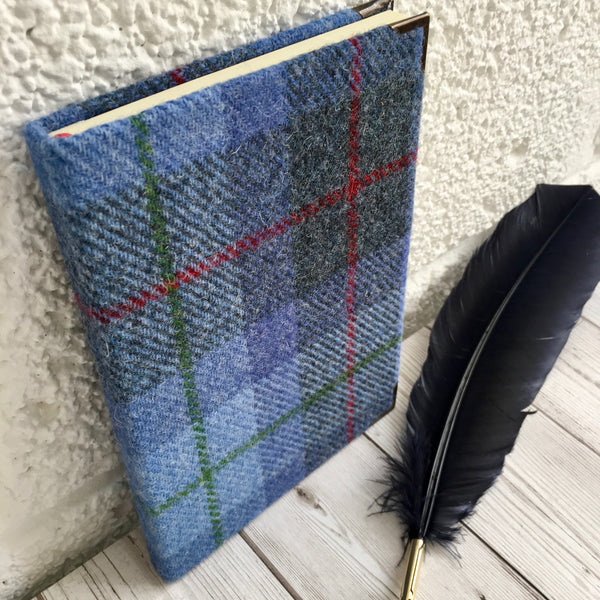 Personalised Harris Tweed Notebook, A5, Lined - Blue