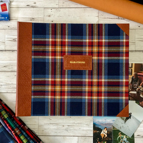 Bespoke Personalised Tartan and Leather Photo Album, Medium