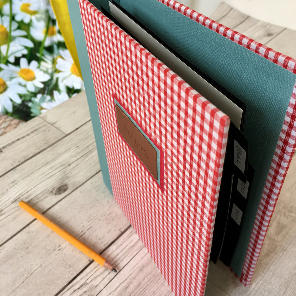 Personalised Gingham Recipe Binder, A5