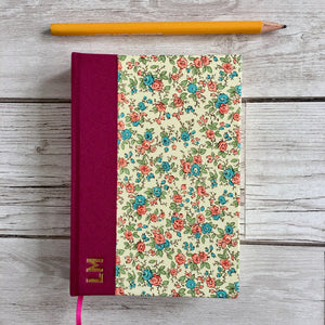 Personalised Pink Flowers Notebook, A6 Blank