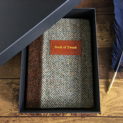 Personalised Notebook, A5, Blank, Gift-Boxed - Harris Tweed Herringbone & Brown