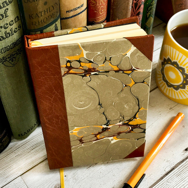 Personalised Notebook, A5, Lined - Stone Marble & Leather