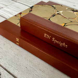 Personalised Stone Marble and Leather Notebook, A6 Blank