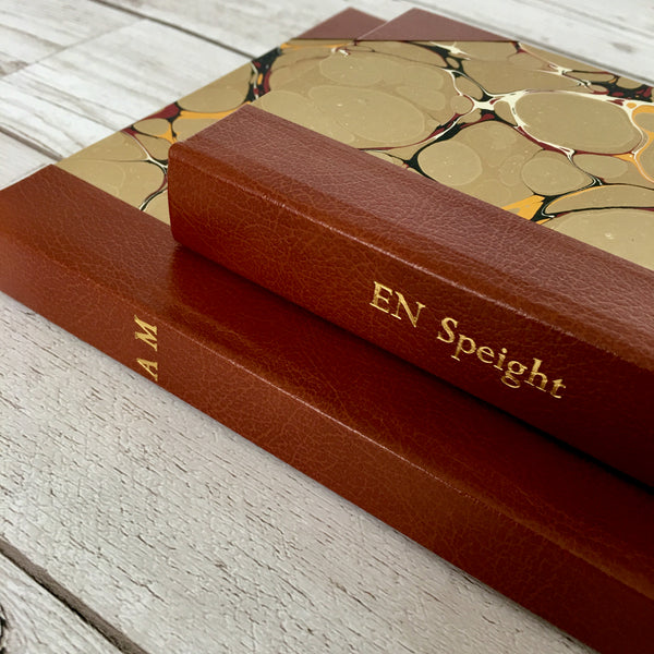 Personalised Notebook, A5, Bullet, Gift-Boxed - Stone Marble & Leather