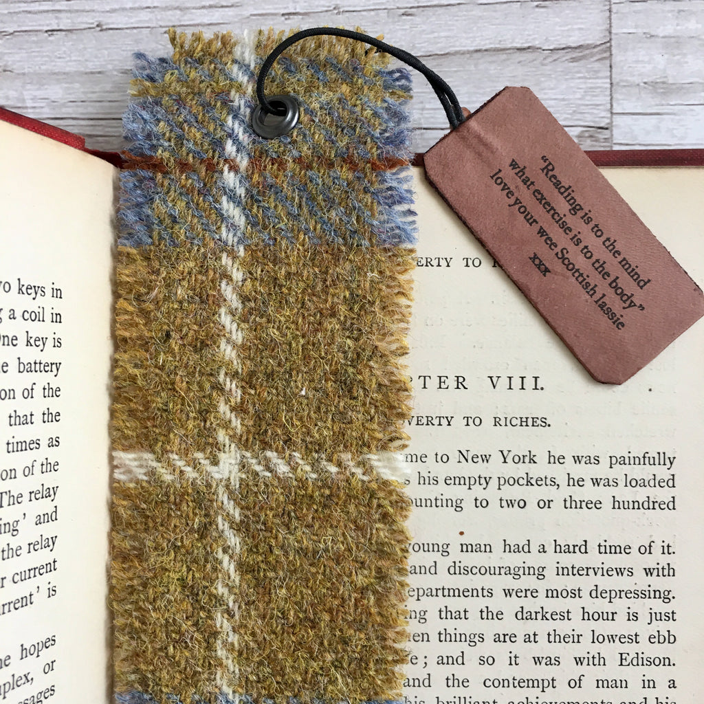 Harris Tweed Bookmark with Personalised Dog Tag, Pack of 3