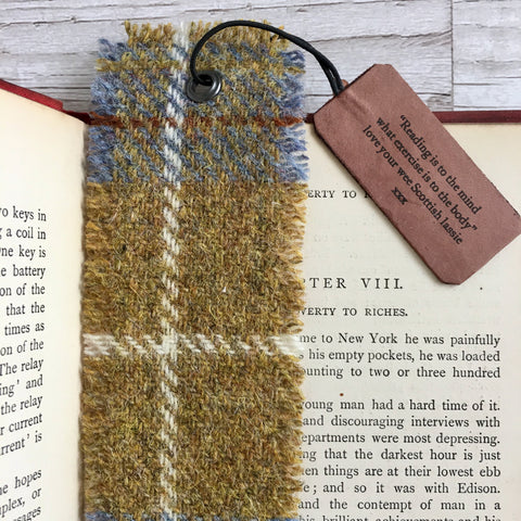 Personalised Harris Tweed Bookmark, Single