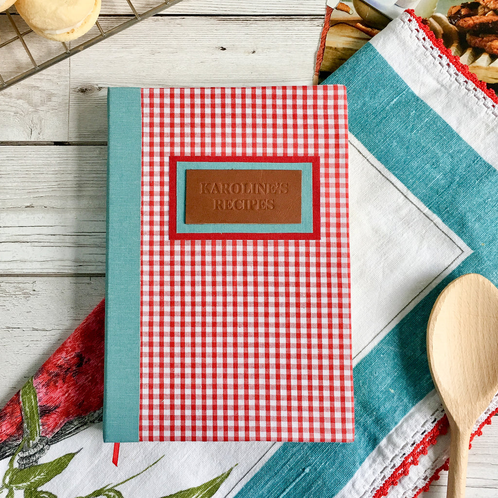 Personalised Recipe Journal, A5, Lined - Gingham