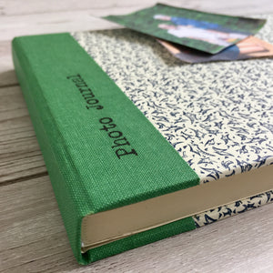 Personalised Blue Leaves and Green Cloth Photo Journal, 21cm Square
