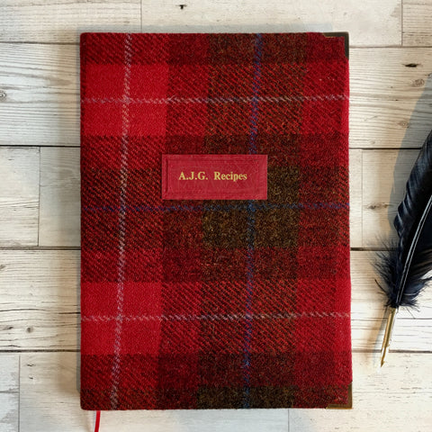 Personalised Harris Tweed Notebook, A5, Lined - Red