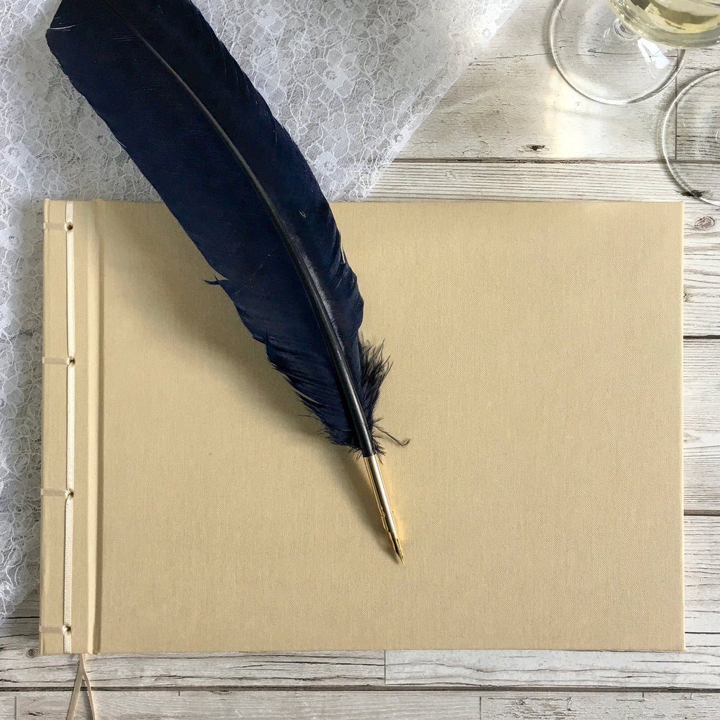Ribbon-bound Linen Guest Book, 21cm Square