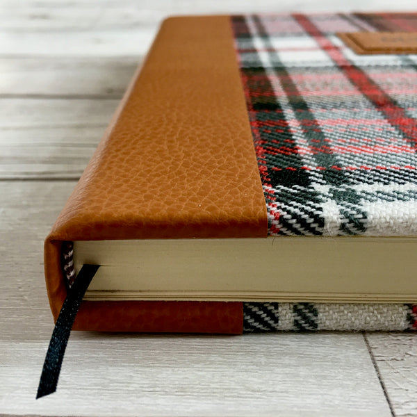 Personalised Notebook, A5, Blank - Custom Tartan & Leather