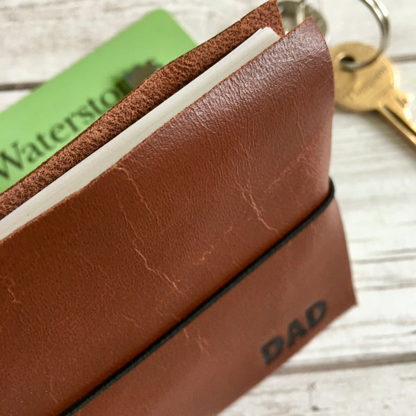 Personalised Leather Notebook, Blank - Wallet-Style