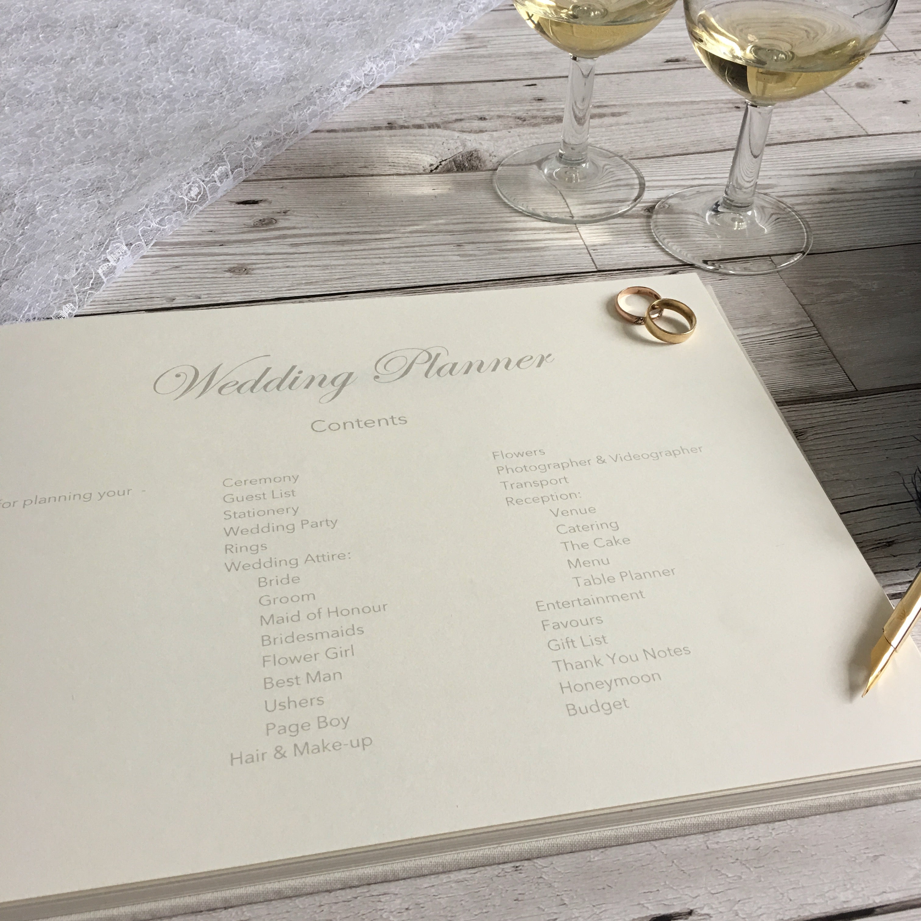 Ribbon-Bound Linen Wedding Planner