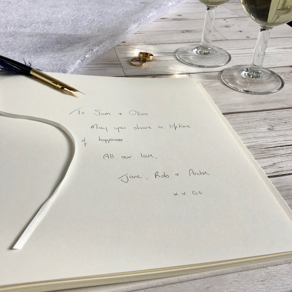 Personalised Guest Book, 21cm Square, Blank - Rose & Black Quill
