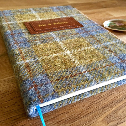 Personalised Harris Tweed Notebook, A5, Lined - Yellow