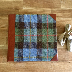 Macleod Harris tweed photo album with mid-tan leather spine and corners, plain - without personalisation