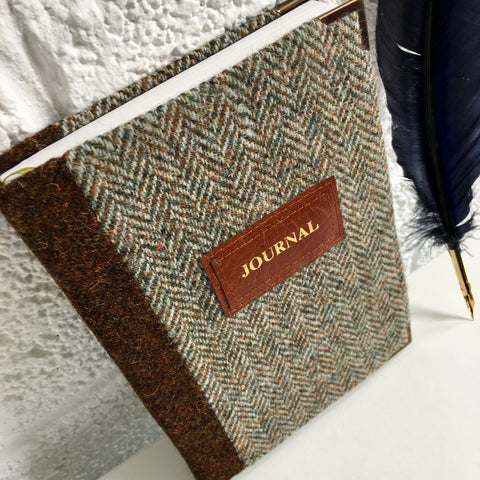 Personalised A5 Notebook, Lined - Harris Tweed Herringbone & Brown