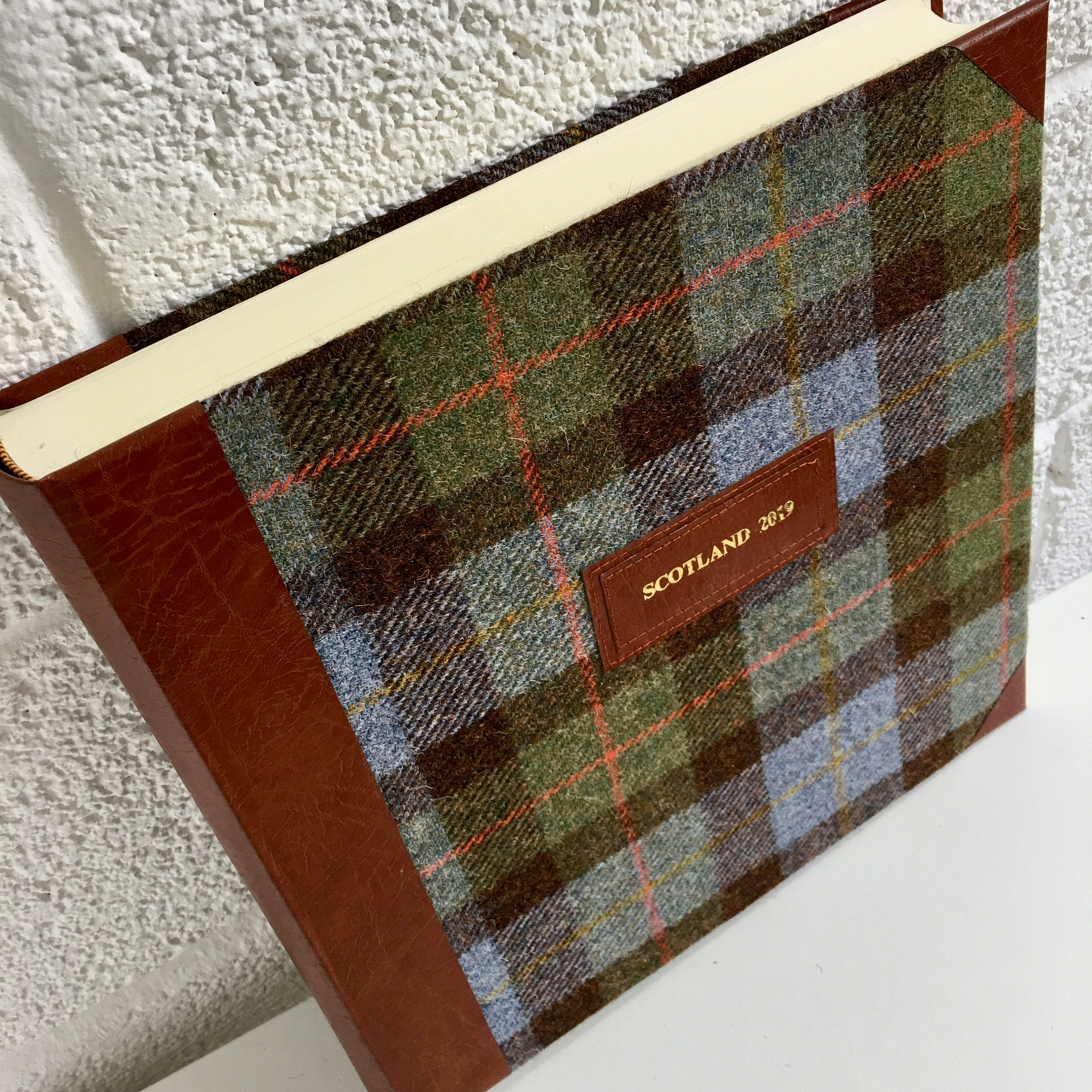 Macleod Harris Tweed and tan leather photo album with personalisation 'SCOTLAND 2017' embossed in gold on tan leather label sewn on front cover