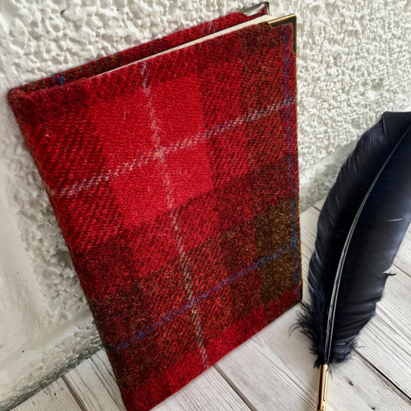 Personalised A5 Notebook, Lined - Harris Tweed, Red
