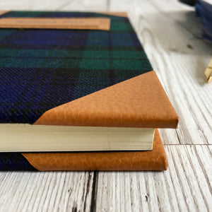 Personalised Black Watch Tartan and Leather Notebook, A5 Blank