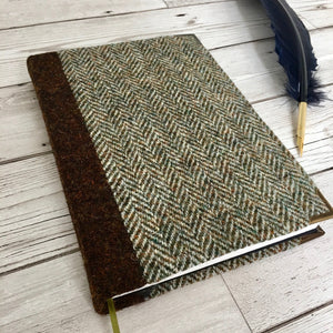 Personalised Notebook, A5, Bullet - Harris Tweed Herringbone & Brown