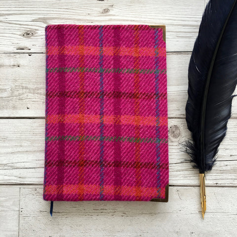Personalised Harris Tweed Notebook, A5, Bullet - Pink