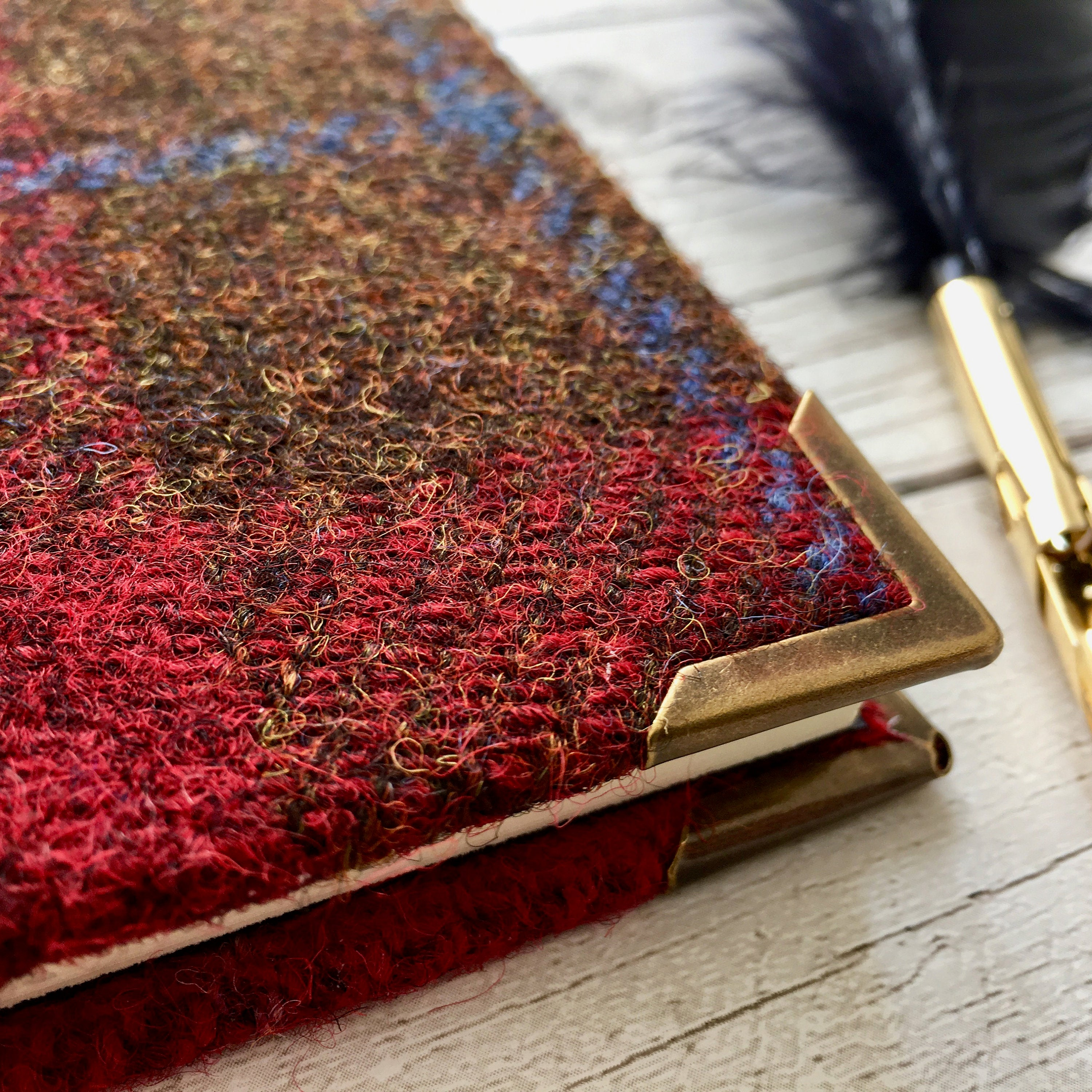Personalised 'Red Hearth' Harris Tweed Notebook, A5 Blank