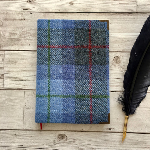 Personalised Harris Tweed Notebook, A5, Bullet - Blue