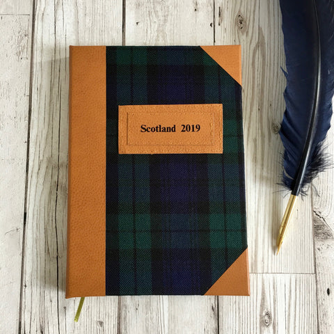 Personalised Notebook, A5, Lined - Custom Tartan & Leather