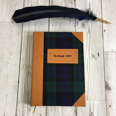 Personalised Notebook, A5, Bullet - Black Watch Tartan & Leather