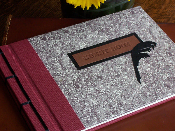 Personalised Guest Book, 30cm Square, Blank - Rose & Black Quill