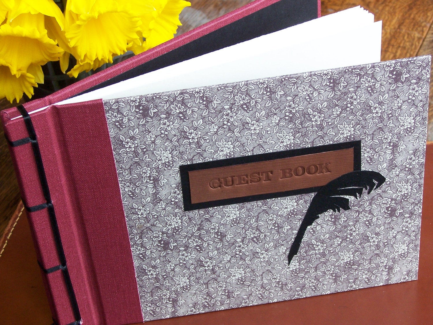 Rose and Black Quill Guest Book, A5